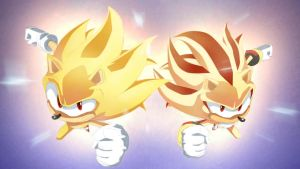 Super Sonic and Super Shadow Attack by moxie2D