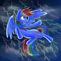 Rainbow Dash in the Lightning by kcday