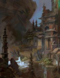 Lighthouse scene fragment (artbook) by AnDary