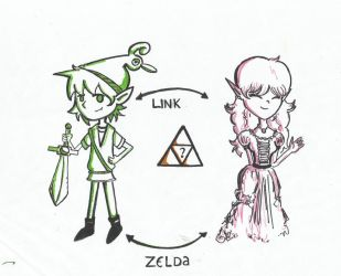 Link and Zelda by DarkRainey
