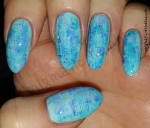 Blue Dry Brush Nails by EnigmaticRambles