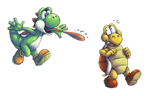 Yoshi and Red Koopa by KelpGull