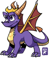 Spyro again, but this time drawn with a Cintiq by Hogia