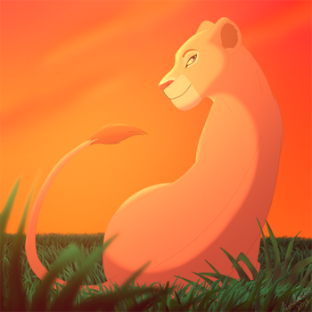 Nala in the Sunset by lionobsession