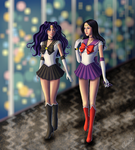 Sailor Shadow and Fire Lady patrolling by Gwarriorfanfic