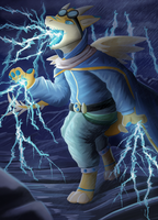 Thunder dragon mage (Commission) by domicreate
