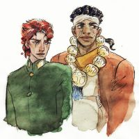 Kakyoin and Avdol by Danikatze