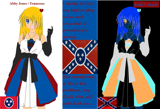 Normal Abby  vs. Snapped/2p/Confederate Abby by TennesseeChick46