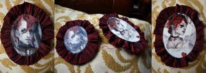 Emilie Autumn pained hairclips by xNatje