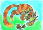 Oil Pastels: Cat and Bird by kxeron