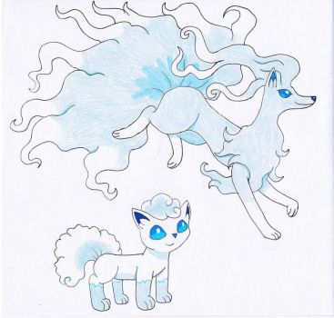 Alolan Vulpix and Ninetales by OkamiRyuu1993