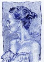 Natalie Portman drawing ballpoint pen by AngelinaBenedetti