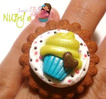 Cupcake on top of cookie -Ring by colourful-blossom