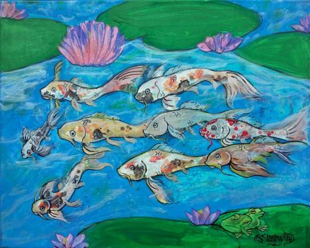 Koi Fish Pond Frogs Love Pink Lotus Flowers Green by StephanieSmall