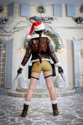Christmas Lara Croft cosplay - back view by TanyaCroft