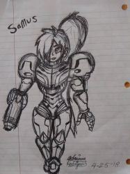 Samus- Pen only((Not Finished)) by Creative-Hurricane