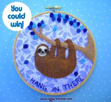 Hang In There Sloth Embroidery by iggystarpup