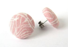 Light pink tiny stud earrings white pastel unique by KooKooCraft