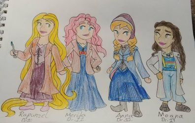Disney princesses crossover Dr Who 3rd drawing by Bella-Who-1