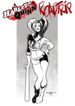 Harley Quinn Road Trip Pin-up by qualano
