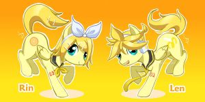 Vocaloid Pony: Rin and Len by WineChan