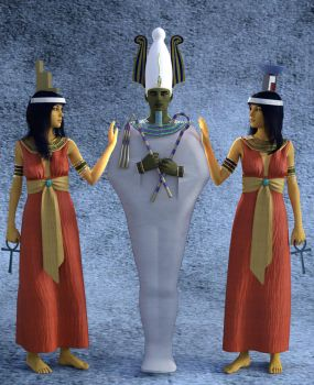 Isis, Osiris and Nephthys rough render 1 by dazinbane