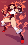 COMMISSION: Wrestling Red Woman by Cubesona