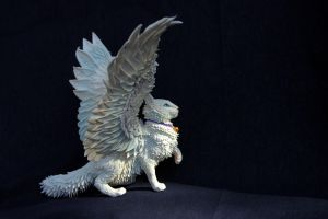 White winged cat by hontor