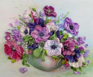 Anemones, ribbon embroidery