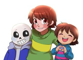Sans Chara and Frisk from Undertale by CreatorOfCastell