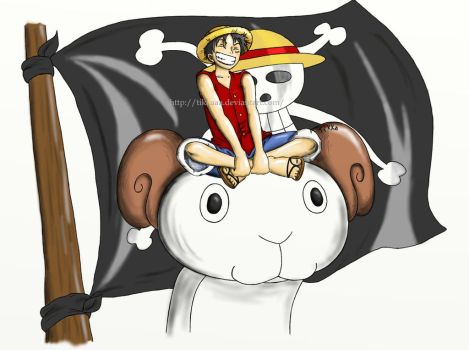 Luffy on Going Merry by Tikkaaa