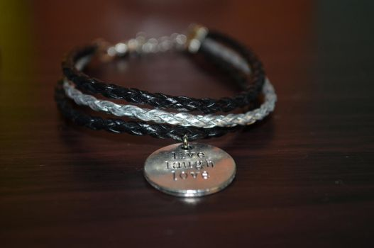 Black Silver Live_laugh_love bracelet by ghelalala