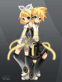 Kagamine Rin and Len Append by giannysuki