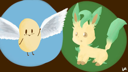 Ralph and Leafeon by Lineon-RL