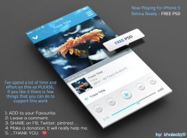 Now Playing for iPhone 5 Retina Ready FREE PSD by khaledzz9