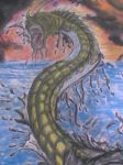 Water Dragon out of ocean by Lukes-Army
