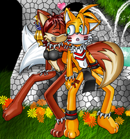 Tails and Fiona Kiss by Lord-Kiyo
