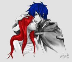Erza and Jellal sketch - Fairy Tail by AmySunHee