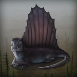 Misty Morning Melanistic Dimetrodon by Amaruuk