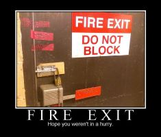 Demotivation: Fire Exit by cornadious