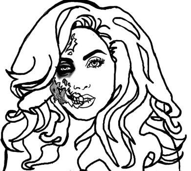 Zombie Gaga B and W by MissCreepers