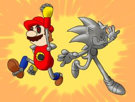 Metal Mario and Metal Sonic by Yellow-Slime