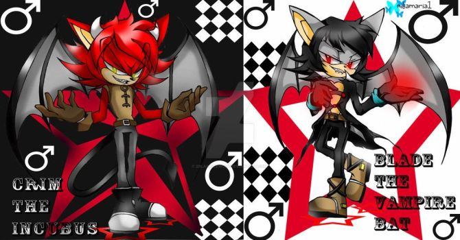 Blade The vampire bat and Crim The Incubus by Zbladeicewolf