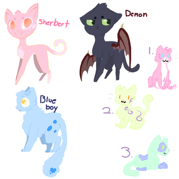 Colorful Cat Adopts by BubblyMint