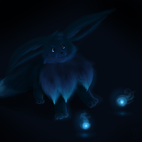 +the blue eevee+ by min-mew
