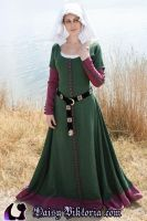 Green and Purple Early 15th Century Gown by DaisyViktoria