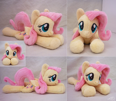 Fluttershy Lying Beanie by SewYouPlushieThings