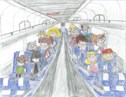 Loud Family riding Amtrak (Colored) by WillM3luvTrains