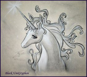 Last Unicorn Portrait by BlackUniGryphon