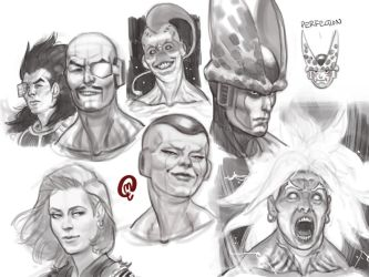 Sketchbook - DBZ Heads and Expressions by Changinghand
